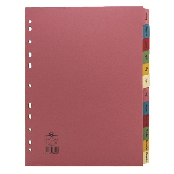 Concord January-December Multi-Colour A4 Index Tabs 71999/J19 - File Index