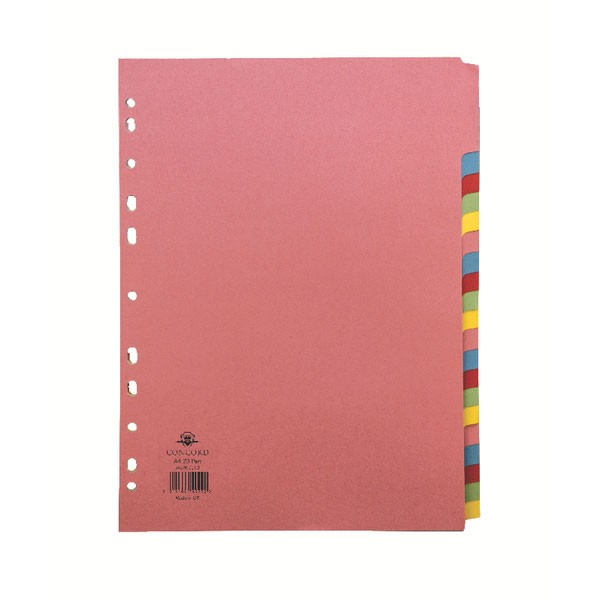 Concord Assorted 250-Part A4 Subject Dividers 74099/J40 - File Dividers