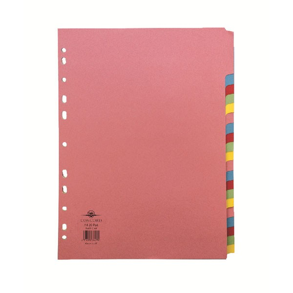 Concord 20-Part A4 Subject Dividers 74499/J44 - File Dividers