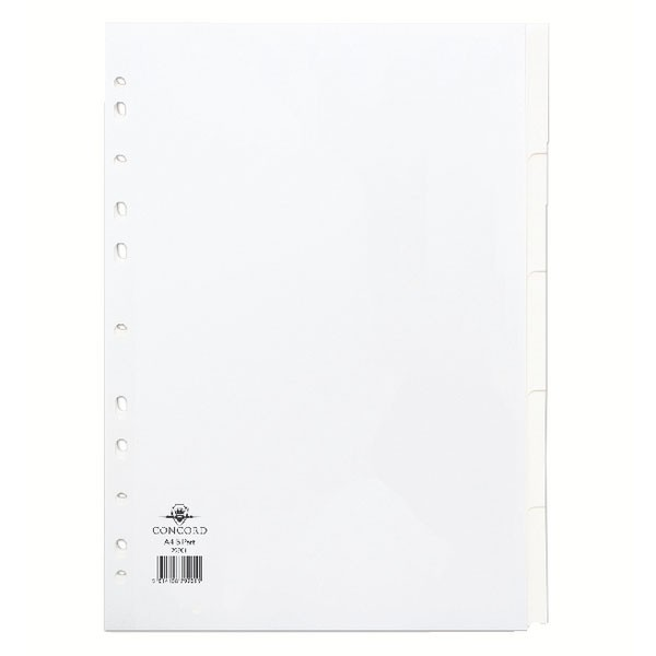 Concord Subject Divider A4 5-Part White 79901 - File Dividers