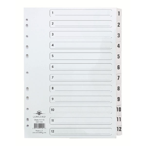 Concord Classic 1-12 White Board A4 Index With Clear Mylar Tabs 01201/CS12 - Numbered Index