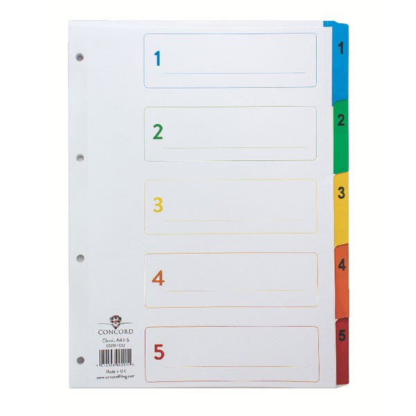 Concord 1-5 White A4 Index With Multi-Colour Tabs 00201/CS2 - Numbered Index