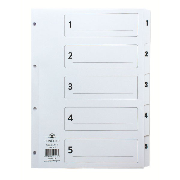 Concord Classic 1-5 White Board A4 Index With Clear Mylar Tabs 00501/CS5 - Numbered Index