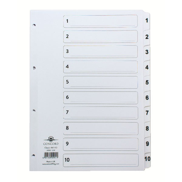 Concord Classic 1-10 White Board A4 Index With Clear Mylar Tabs 00901/CS9 - Numbered Index