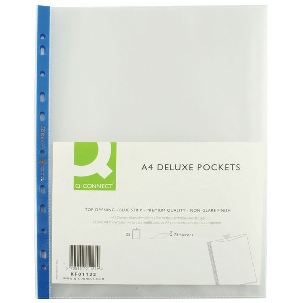 Q-Connect Blue Strip A4 Deluxe Top-Opening Punched Pockets KF01122