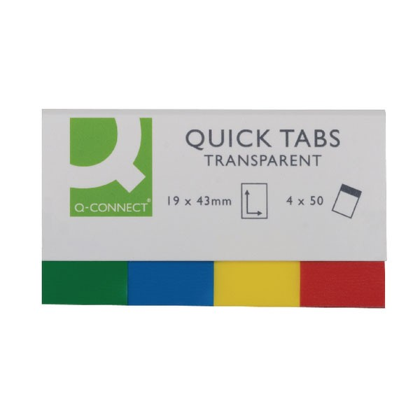 Q-Connect 20x50mm Transparent Quick Tabs KF01225 - File Folders Tabs