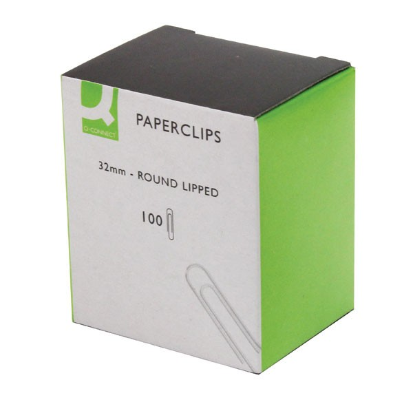 Q-Connect 32mm Lipped Paperclips Pack Of 100 x 10 KF01316Q