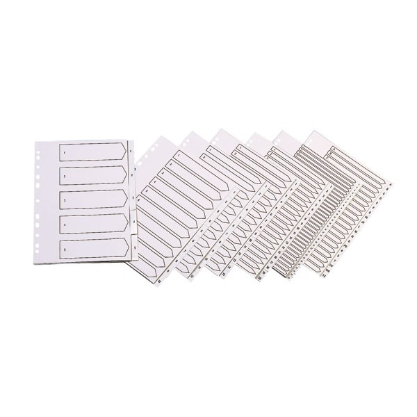 Q-Connect 20-Part White Polypropylene A4 Multi-Punched A-Z Index KF01351