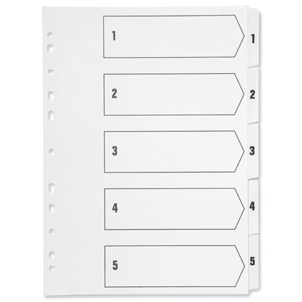 Q-Connect 1-5 White Multi-Punched A4 Index KF01352 - Numbered Index