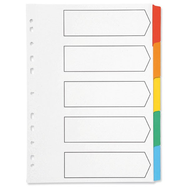 Q-Connect Multi-Punched 5-Part Reinforced A4 Multi-Colour Tabbed Index - File Dividers