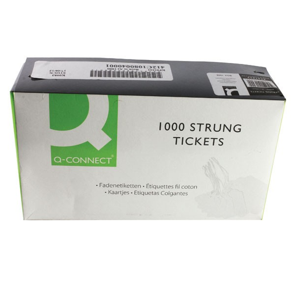 Q-Connect Strung Ticket 70 x 44mm White PACK OF 1000 KF01622