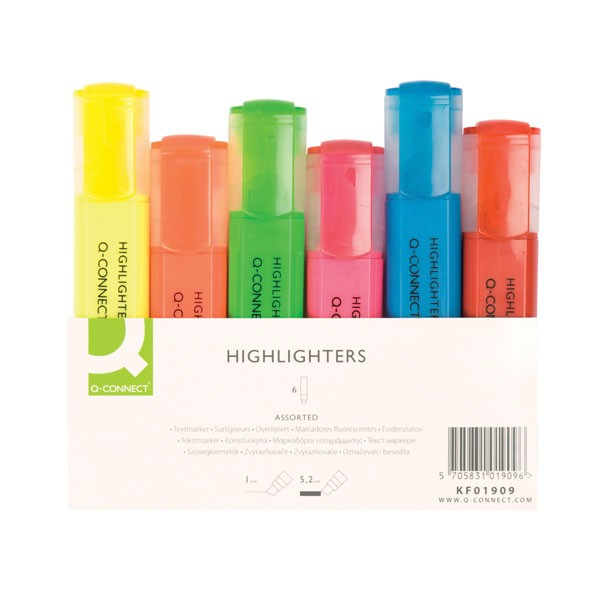 Q-Connect Wallet Of 6 Assorted Highlighters KF01909 - Highlighter Pens