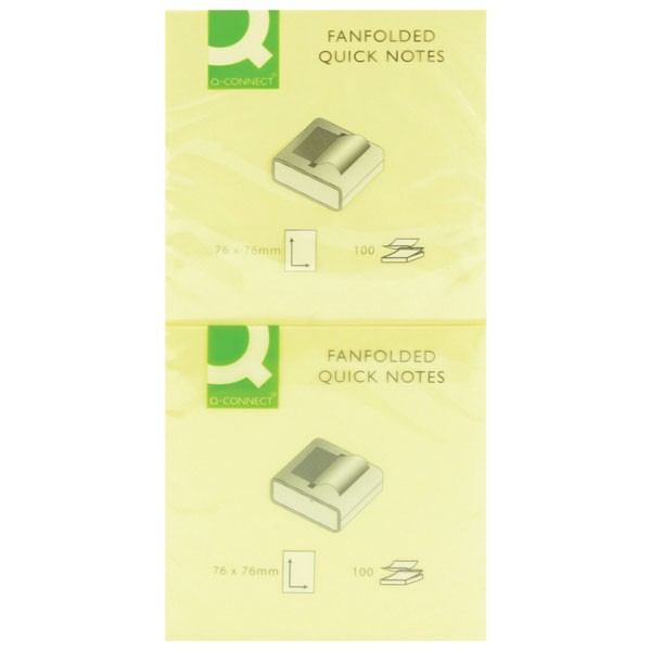 Q-Connect Yellow Fanfold Quick Notes 75x75mm KF02161