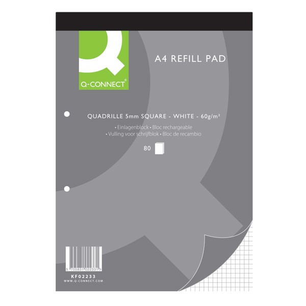 Q-Connect 80 Leaf Quadrille Ruled 2-Hole Punched Head Bound A4 Refill Pad KF02233