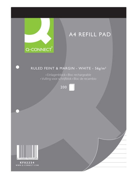 Q-Connect 200 Leaf Ruled Feint And Margin A4 2-Hole Punched Head Bound Refill Pad KF02234