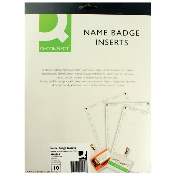 Q-Connect Name Badge Inserts 54 x 90mm KF02289 - Badge Inserts