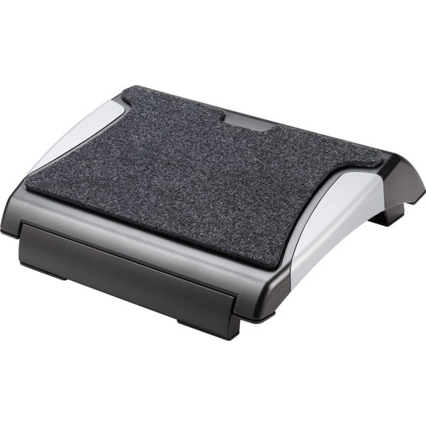 Q-Connect Black/Silver Foot Rest With Carpet KF20075