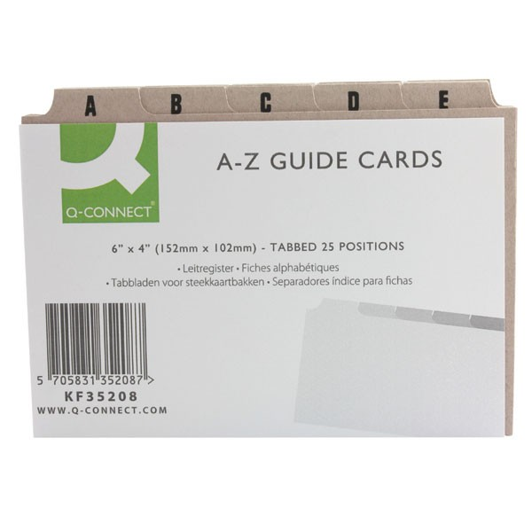Q-Connect Guide Card 6x4 Inch A-Z Buff KF35208 - Guide Cards