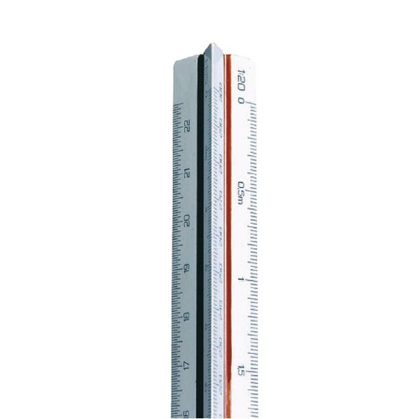 Linex 100-500 300mm Scale White Triangular Ruler LXH 312