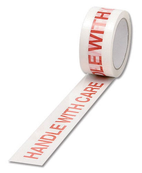 Ambassador Polypropylene White/Red Printed Handle With Care Tape 50mm x 66 Metres - Printed Tape