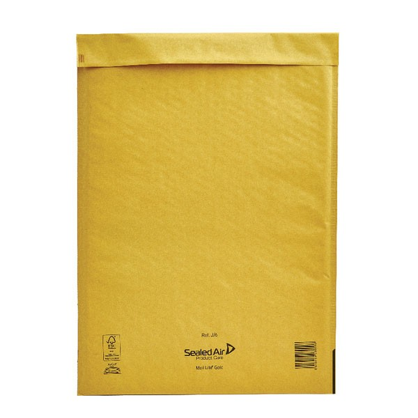 Mail Lite Gold Peel And Seal Bubble-Lined Postal Bag 300x440mm MLGJ/6 - Padded Envelopes Ireland