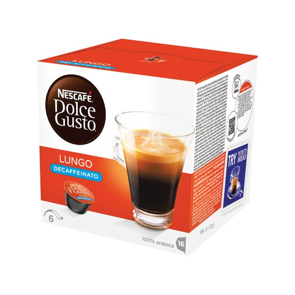 Nescafe Dolce Gusto Lungo Decaffeinated Capsules (Pack of 48) 12219256