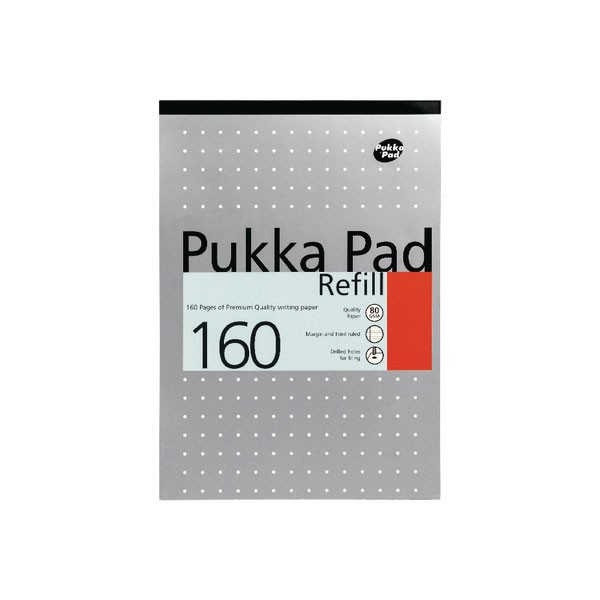 Pukka Pad 80 Leaf Ruled Feint And Margin White 4-Hole Punched A4 Refill Pad 80/1