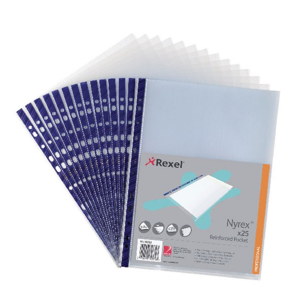 Rexel Nyrex PVC Open Top Clear Pockets NPRA4 12233 - Punched Pockets