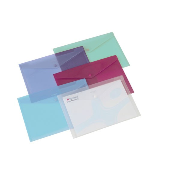 Rexel Assorted Translucent A4 Carry Folders - Press Stud Document Wallets
