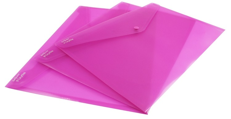 Snopake Pink Foolscap Plus Polyfiles 11163 - Press Stud Document Wallets