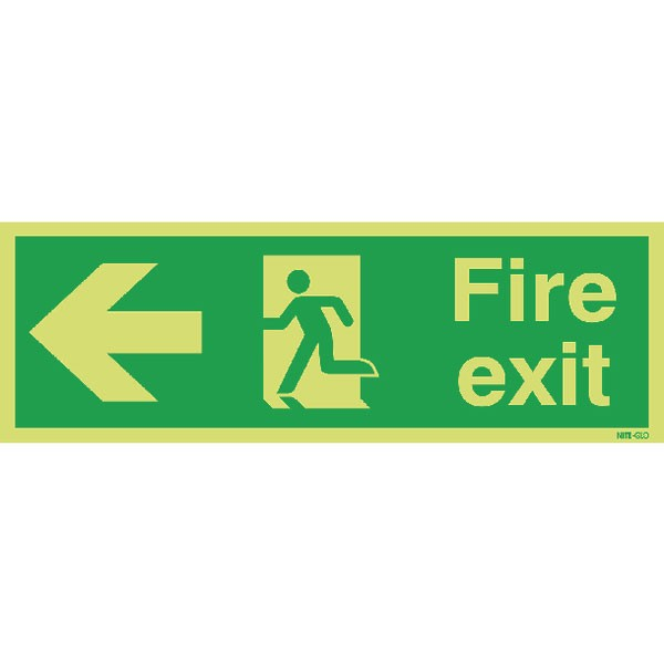 Niteglo Fire Exti Running Man Arrow Left 150 x 450mm PVC Safety Sign FX04311M - Fire Exit Signs