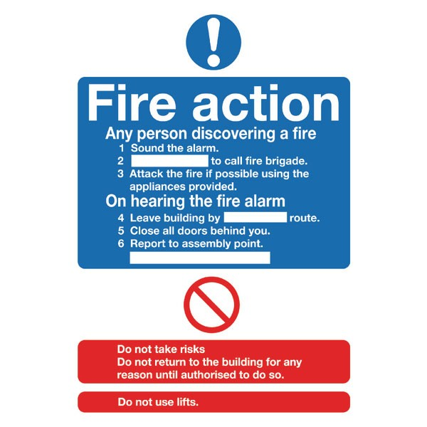 Fire Action Standard A5 PVC Safety Sign FR03551R - Fire Exit Signs