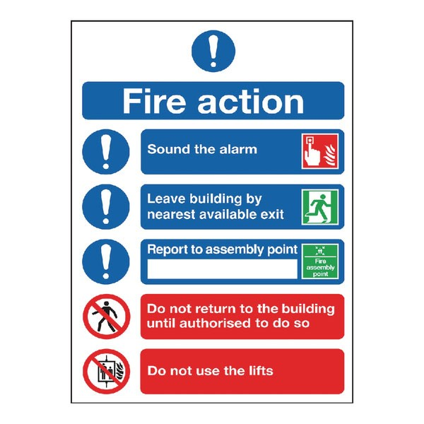 Fire Action Symbol A5 Safety Sign FR099A5 - Fire Exit Signs