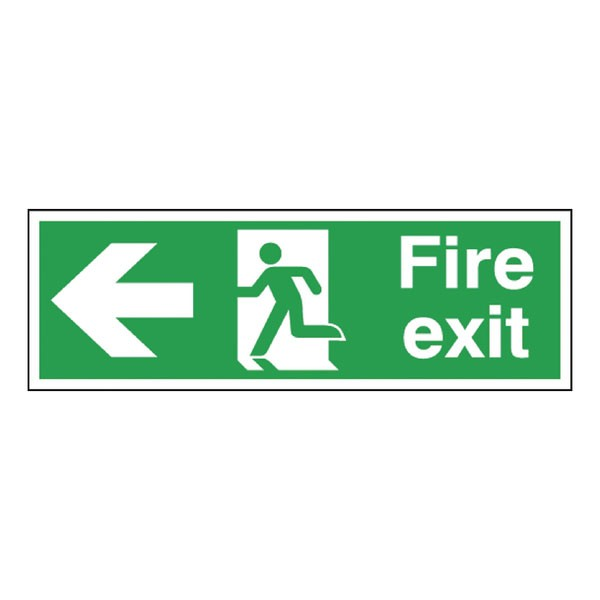 Fire Exit Running Man Arrow Left 150 x 450mm Self-Adhesive Safety Sign E97A/S - Fire Exit Signs