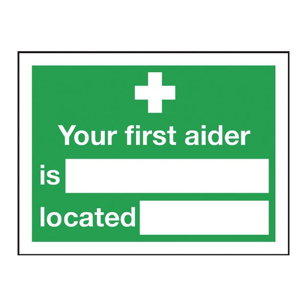Your First Aider Is 150 x 200 Self-Adhesive Safety Sign E42A/S - First Aid Signs