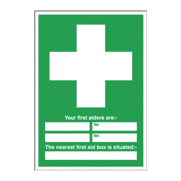 First Aid/Your First Aiders Are/Nearest First Aid Box 600 x 450mm PVC Safety Sign E91A/R - First Aid Signs