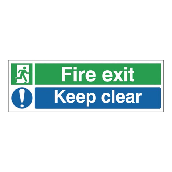Fire Exit Keep Clear 150 x 450mm Self-Adhesive Safety Sign EC08S/S - Fire Exit Signs