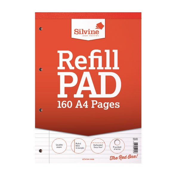 Silvine 80 Leaf Ruled Feint And Margin 4-Hole Punched A4 Head Bound Refill Pad A4RPFM