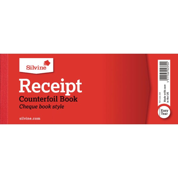 Silvine Receipt Book With Counterfoil 3x8 Inches 233