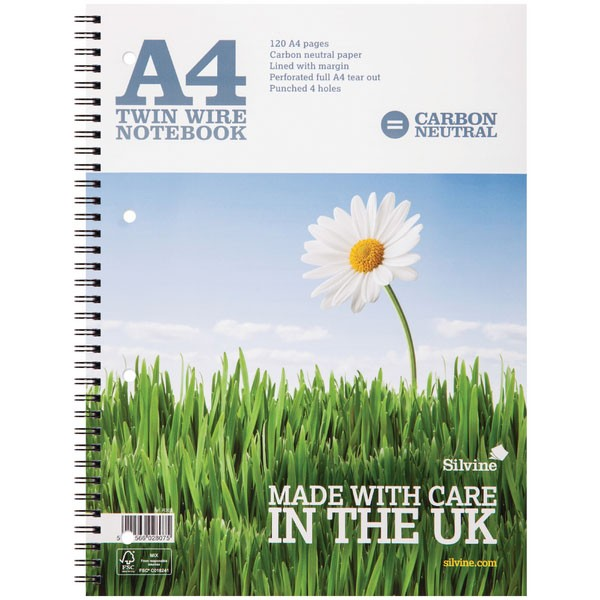 Silvine 120 Page CO2 Neutral White A4 Twin Wire Notebooks R302