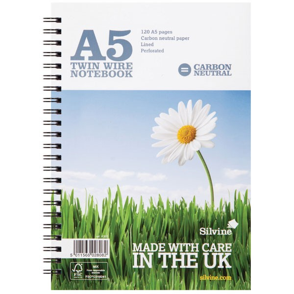 Silvine 120 Page CO2 Neutral White A5 Twin Wire Notebook R303