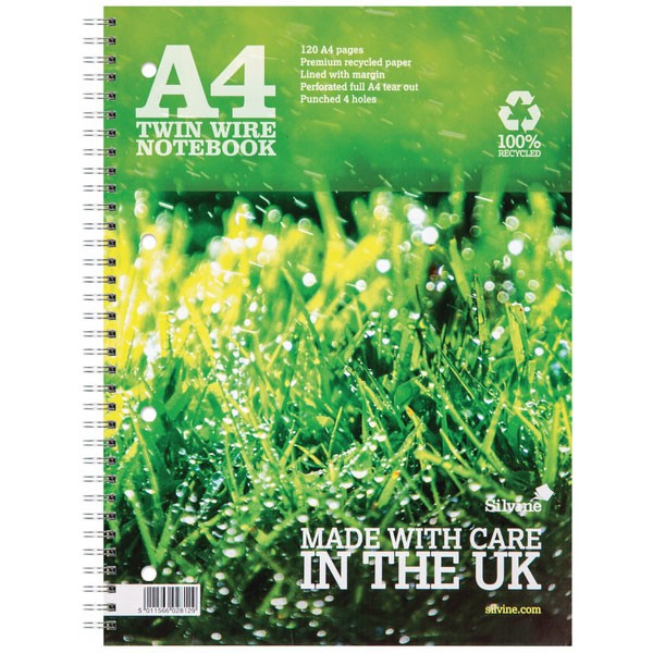 Silvine 120 Page Recycled A4 Twin Wire Notebook Green R102