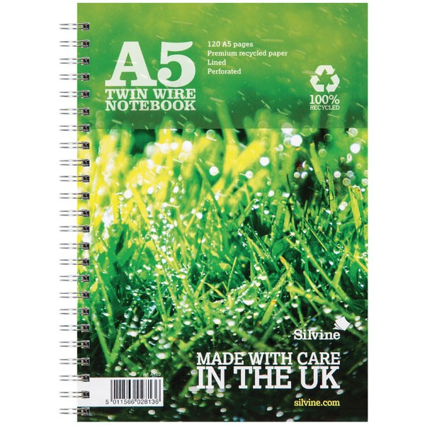 Silvine 120 Page Recycled A5 Twin Wire Green Notebooks PAGESR103