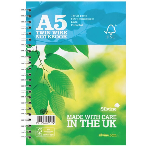 Silvine 160 Page Twin Wire Blue A5 Notebook R203 (FMS)