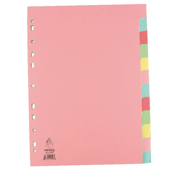 A4 Multi-Colour Manilla 12-Part Dividers WX01515 - File Dividers