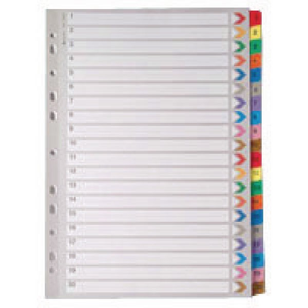 A4 Mylar 1-20 Multi-Colour Index WX01521 - Numbered Index