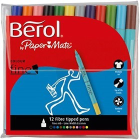 Berol Colourfine Assorted Wallet Of Water Based Ink Pens CF12W12 S0376340 - Colouring Markers