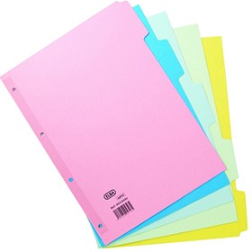 Elba Assorted A4 5-Part Manilla Dividers 240gsm 400008249 - File Dividers