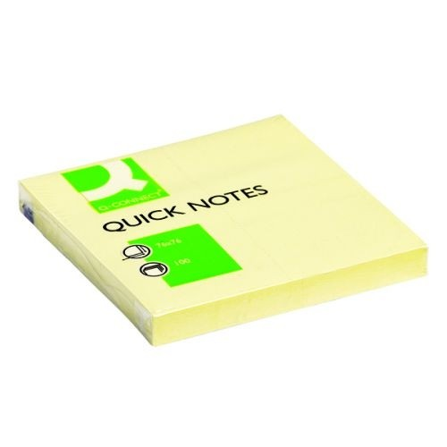 Q-Connect Yellow Quick Note Repositionable Pad 76x76mm KF10502