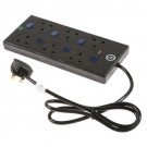 Surge Protector Ind Switch 6 Way 2m Blk
